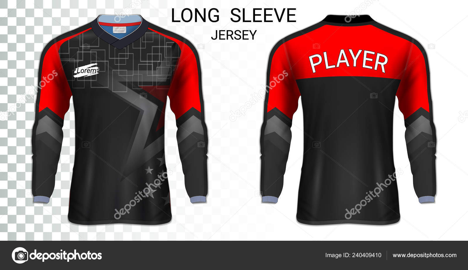 Long Sleeve Soccer Jerseys Shirt Sport Mockup Template Realistic Graphic Vector Image By C Aioonrak Gmail Com Vector Stock 240409410