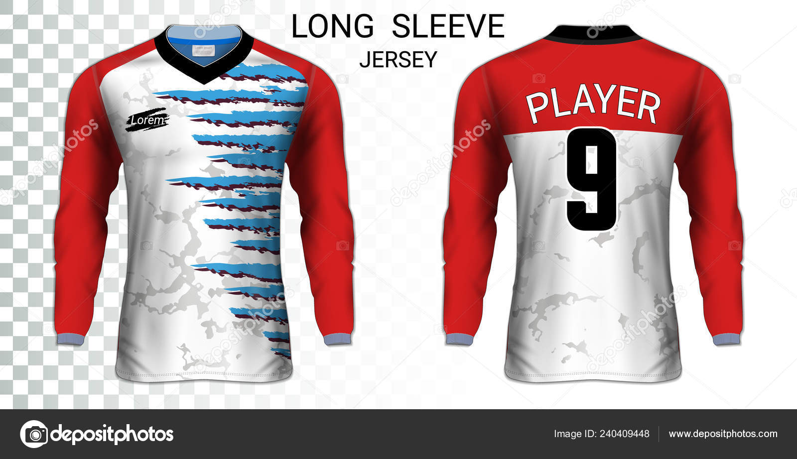 Long Sleeve Soccer Jerseys Shirt Sport Mockup Template Realistic Graphic Vector Image By C Aioonrak Gmail Com Vector Stock 240409448