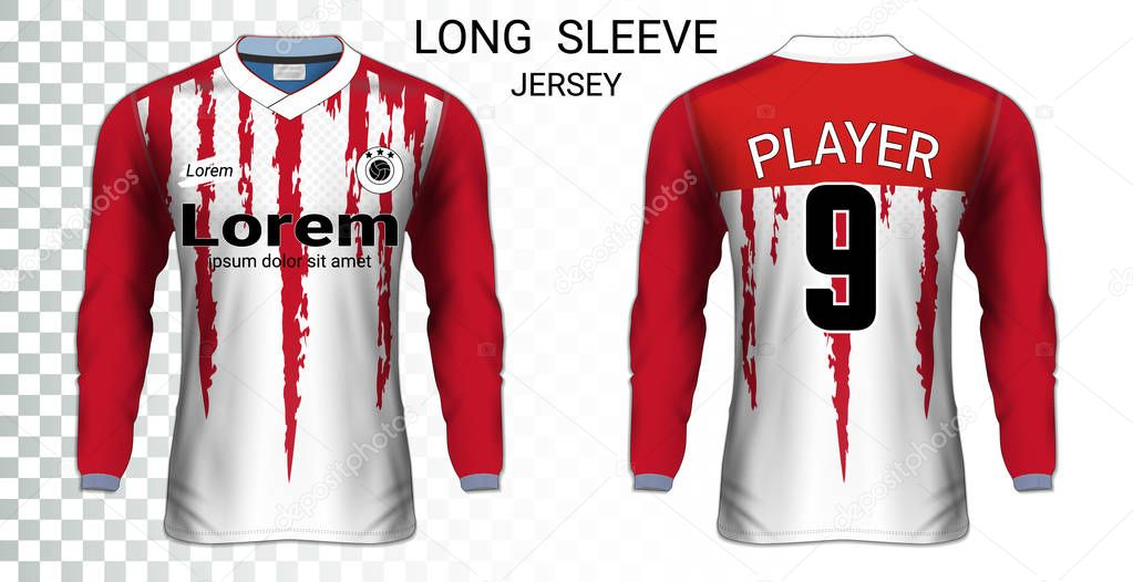 Long Sleeve Soccer Jerseys T Shirt Sport Mockup Template Realistic Graphic Design For Football Uniform Goalkeeper Motocross Unisex Cycling Etc Easily To Change Logo Name Color In Your Styles Premium Vector In