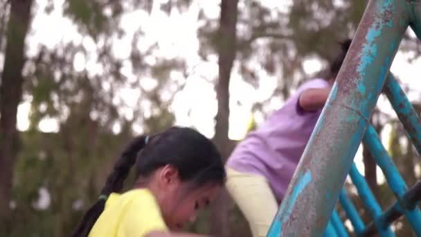 Roztomilé asijské malé holčičky leze na žebřík na hřišti.