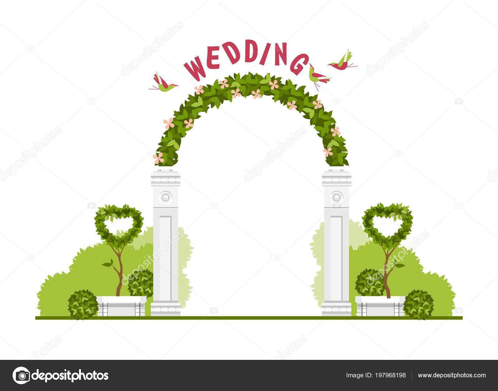 Wedding Arch White Background Plant Elements Flowers Park Beautiful Figures Stock Vector C Marrishuannna 197968198