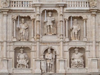 Statues of important figures in the history of Burgos and Castile on the St. Mary Arch - Burgos, Castile and Leon, Spain