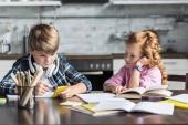Fotografie konzentrierte kleine Kinder Hausaufgaben zusammen in der Küche