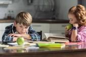 Fotografie kleinen Bruder und Schwester mit grünen Äpfeln, Hausaufgaben