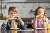 Fotografie entzückenden kleinen Bruder und Schwester Essen Sandwiches und Blick in die Kamera