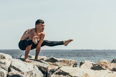 sporty shirtless man doing arm balance on rocky seashore
