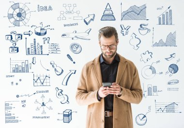 handsome developer in brown coat using smartphone, isolated on white with SEO and business icons