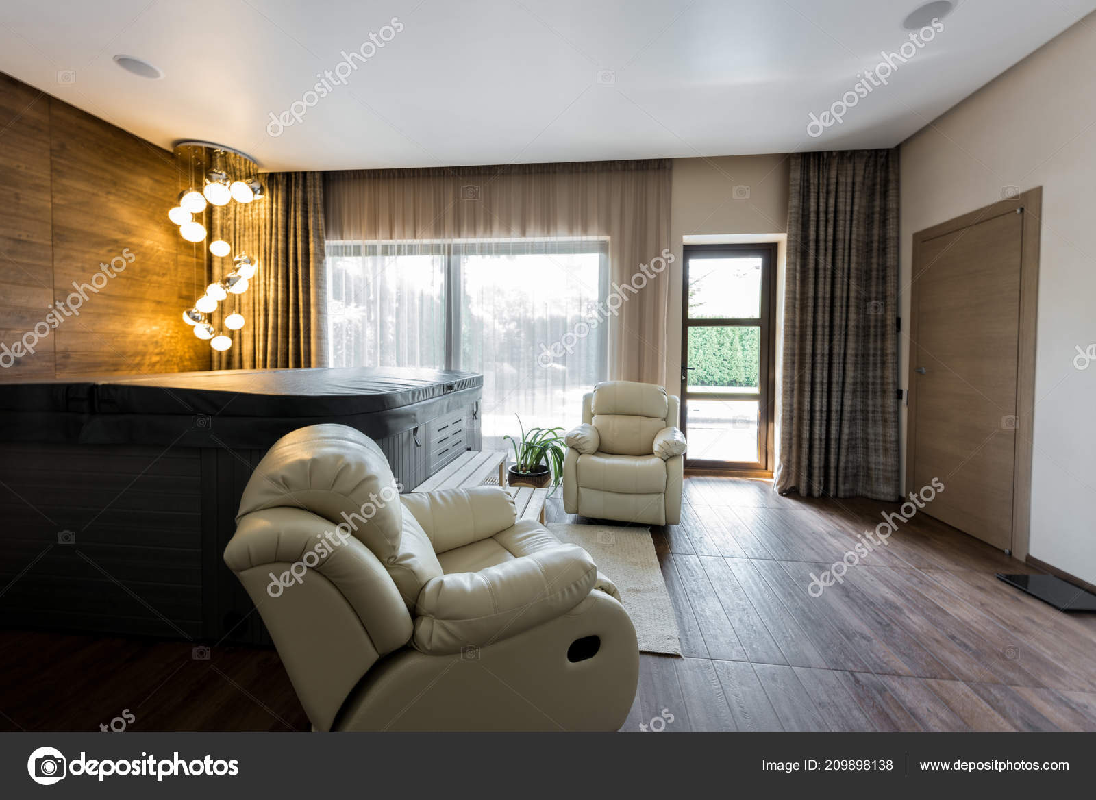 Interior empty modern room armchairs closed jacuzzi spa u stock