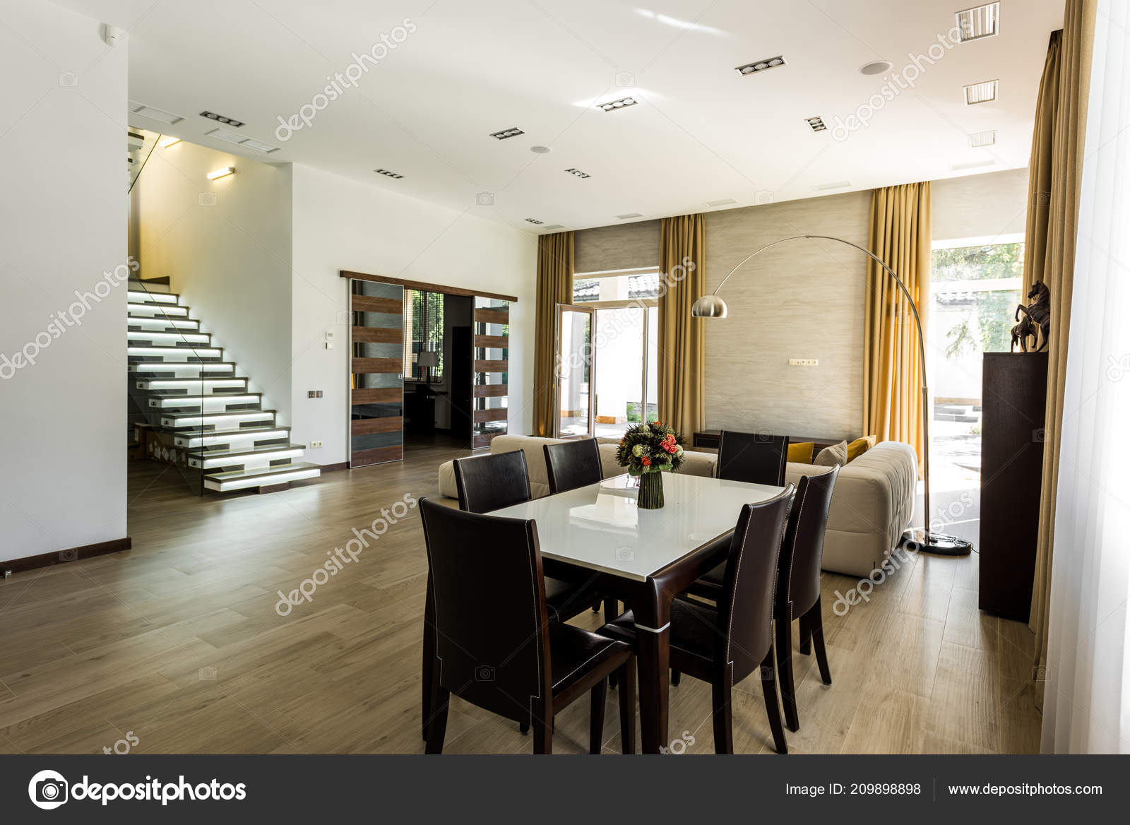 Interior View Empty Dining Room Table Chairs Stairs Stock Photo
