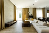Photo interior of empty modern living room with sofa and lamp
