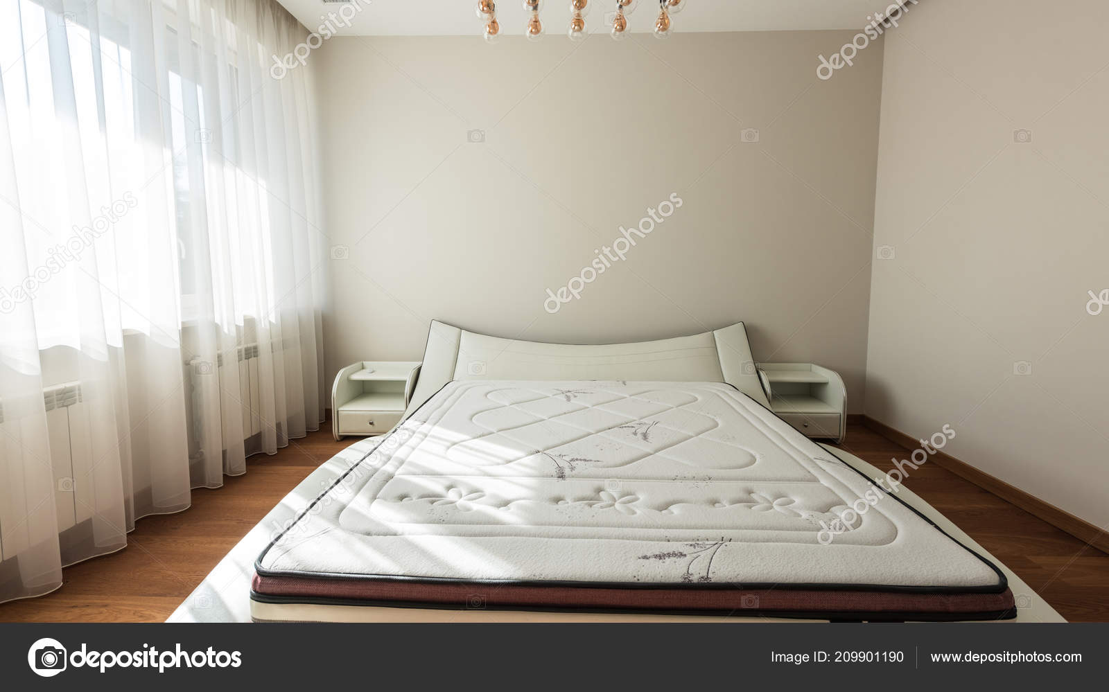 Interior modern bedroom bed big window u stockfoto y boychenko