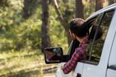 Fotografie zadní pohled na řízením pick-up v lese