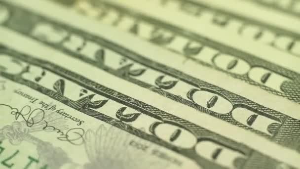 Dolary uzavřít koncept. Peníze na americký dolary. Zobrazení makra. Rotace 360 stupňů.