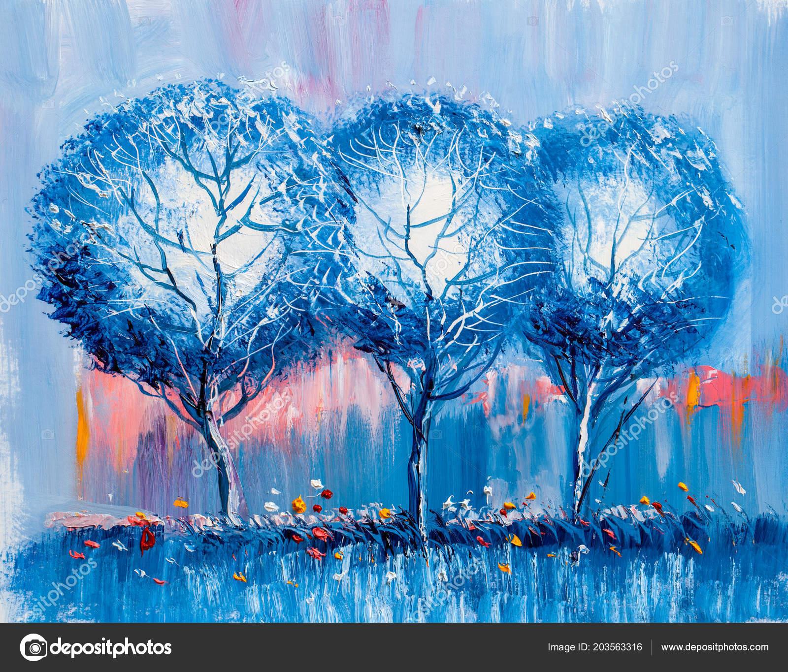 Olejomalba Krajina Barevné Stromy Ručně Malované Impresionistický Venkovní  Krajiny — Stock fotografie 9277ae3511
