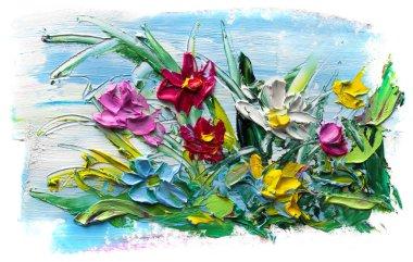 """Картина, постер, плакат, фотообои """"Масляная картина букет цветов. Импрессионистов стиль. На белом фоне."""", артикул 211897638"""