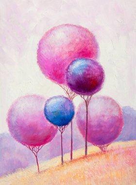 """Картина, постер, плакат, фотообои """"пейзаж масляной живописи, красочные деревья. ручной импрессионист, пейзаж на открытом воздухе ."""", артикул 378862194"""