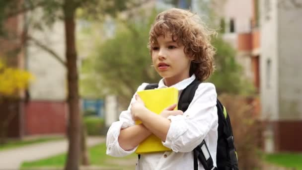 A cute, curly schoolboy is standing with a knapsack behind his back and a book in his hands. The wind blows his hair. Serious facial expression. Back to school. Day of knowledge