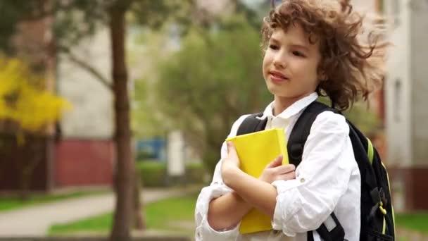 Portréja egy iskolás egy könyvvel a kezében. A fiú néz elgondolkodva a távolság és a mosoly álmodozva. Göndör hajú, fehér ing. Vissza az iskolába