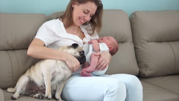 Eine junge Mutter hält ein neugeborenes Baby auf dem Arm, das auf der Couch sitzt. In der Nähe ist ein Haushund, ein Pekingese und schnüffelt ein Baby