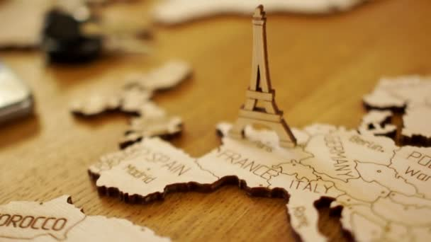Map of Europe, France, wooden model. Eiffel Tower. Tourist attractions, travel planning