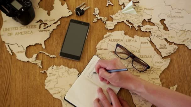 Travel to Europe, the organization of the tour to Germany and Spain. Travel agency. A wooden map of the world map