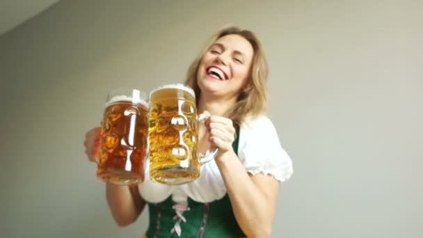 Portrait of a Happy Woman Wearing a Traditional Oktoberfest Costume with Two Beer Glasses and Holding a Sign