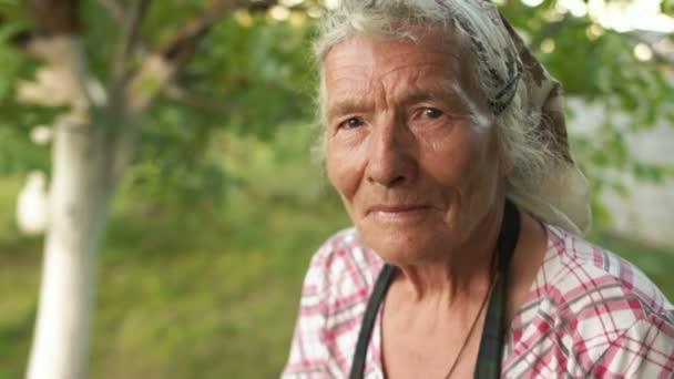 Portrét velmi stará 80 let staré ženy ve své zahradě. Zblízka, hluboké vrásky, šátek, šedé vlasy, vítr