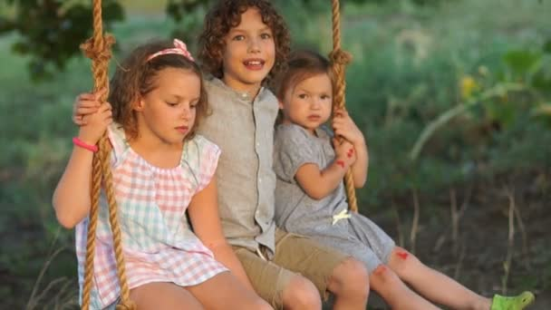 Three children ride on a swing. The older boy says something to the baby and she runs away. Happy family, summer vacation