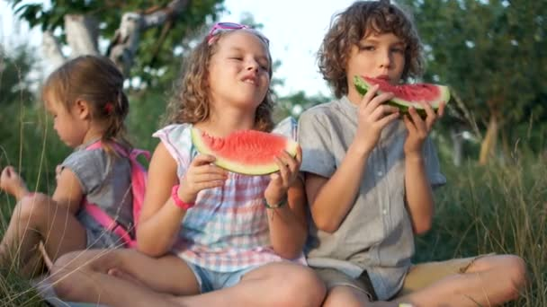Three happy smiling child eating watermelon in park. Senior boy and girl, brother and sister, and younger sister, baby