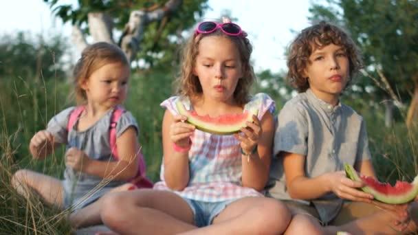 Děti jíst meloun v parku sedět na trávě. Letní piknik v přírodě. Tři děti, bratr a dvě sestry