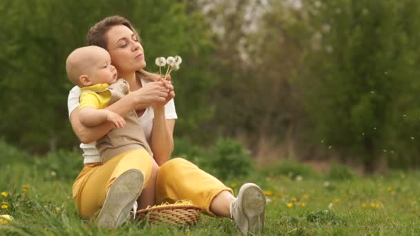 Young mother and baby are blowing dandelions while sitting in the park on the grass. Mothers day, mom and baby. Copy space right