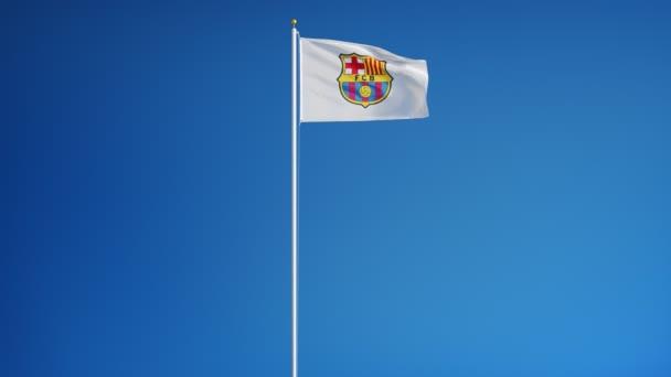 Integetett zászló az Fc Barcelona. Tossa de Mar város. Katalónia, Spanyolország