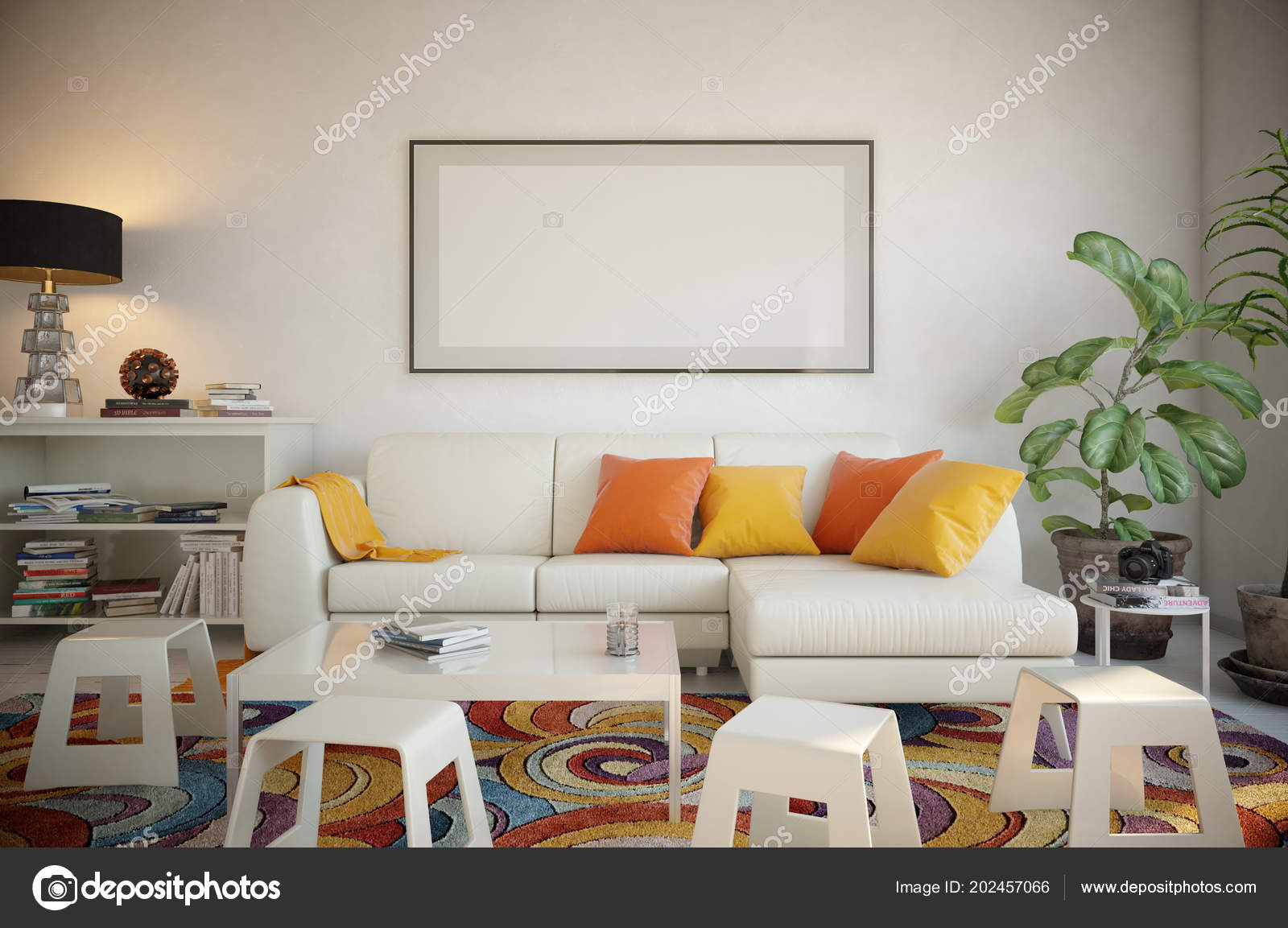 Picture Frame Set Living Room Render Stockfoto Pozitivo 202457066