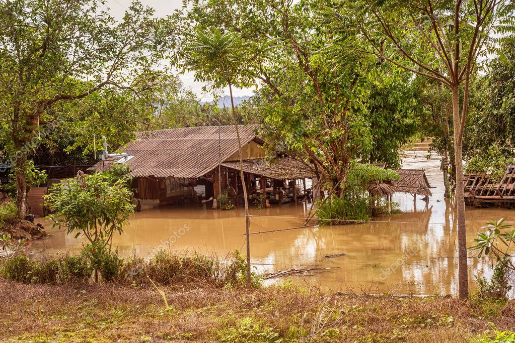 Trang, Thailand - December 4, 2017: Flooded roads and villages in South Thailand travelling in Trang province of Thailand.