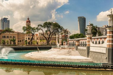 Kuala Lumpur, Malaysia - Dec 13, 2017: Stairs to Masjid Jamek Mosque in the center of Kuala Lumpur, Malaysia. The mosque was built in 1907 is oldest mosque in Kuala Lumpur, Malaysia.