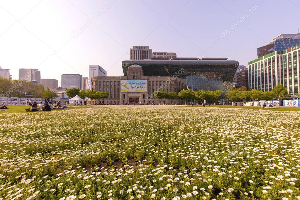 SEOUL, SOUTH KOREA - APRIL 29: City Hall Seoul Plaza (Seoul Square) Photo taken on April 29 2018 in Seoul South Korea.