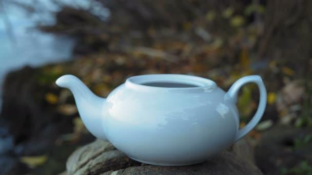 Closeup, Men Hand Puts Green Tea in a White Porcelain Teapot