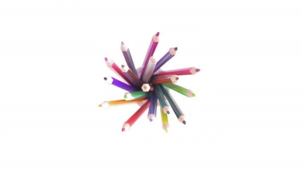 Pohled shora, barevné tužky ve skle otočit okolo bílého pozadí
