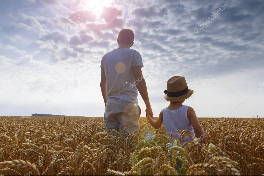 Happy family. Father and son looking at the sun in the wheat field. Backview.