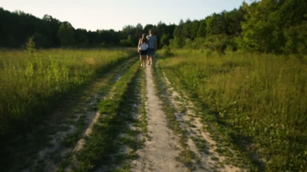 Two walking people in love.