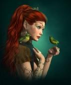 Photo Green Birds, 3d CG