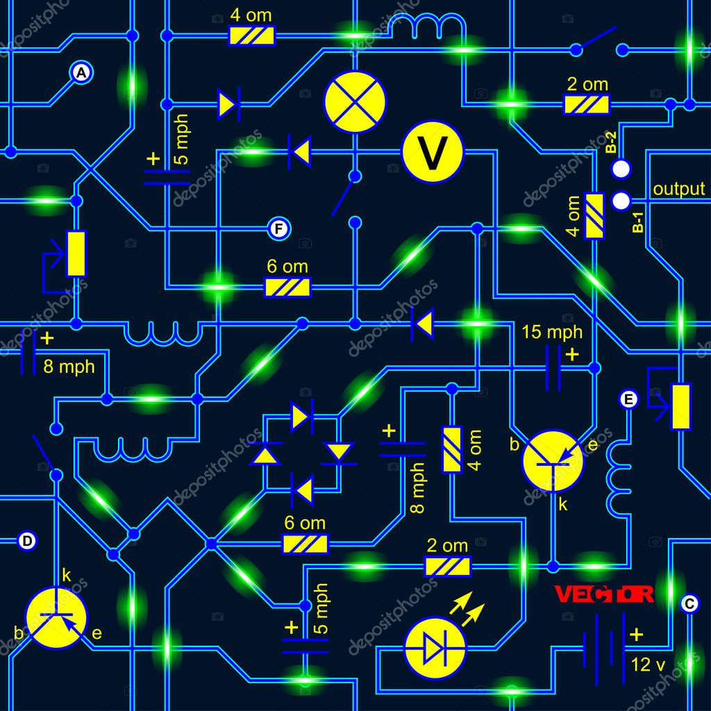 Icons Website Search Over 28444869 Icon Electric Circuits Vector Seamless Background Of Electrical Circuit Radio Device Resistance Transistor Diode