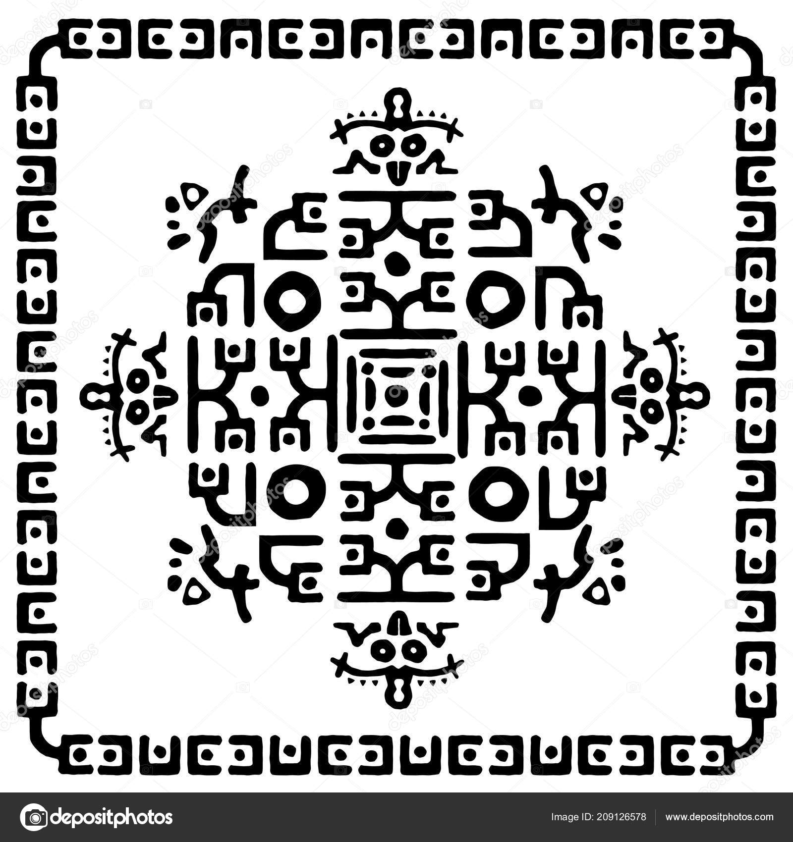Black White Abstract Graphic Pattern Square Geometric Ethnic Tribal