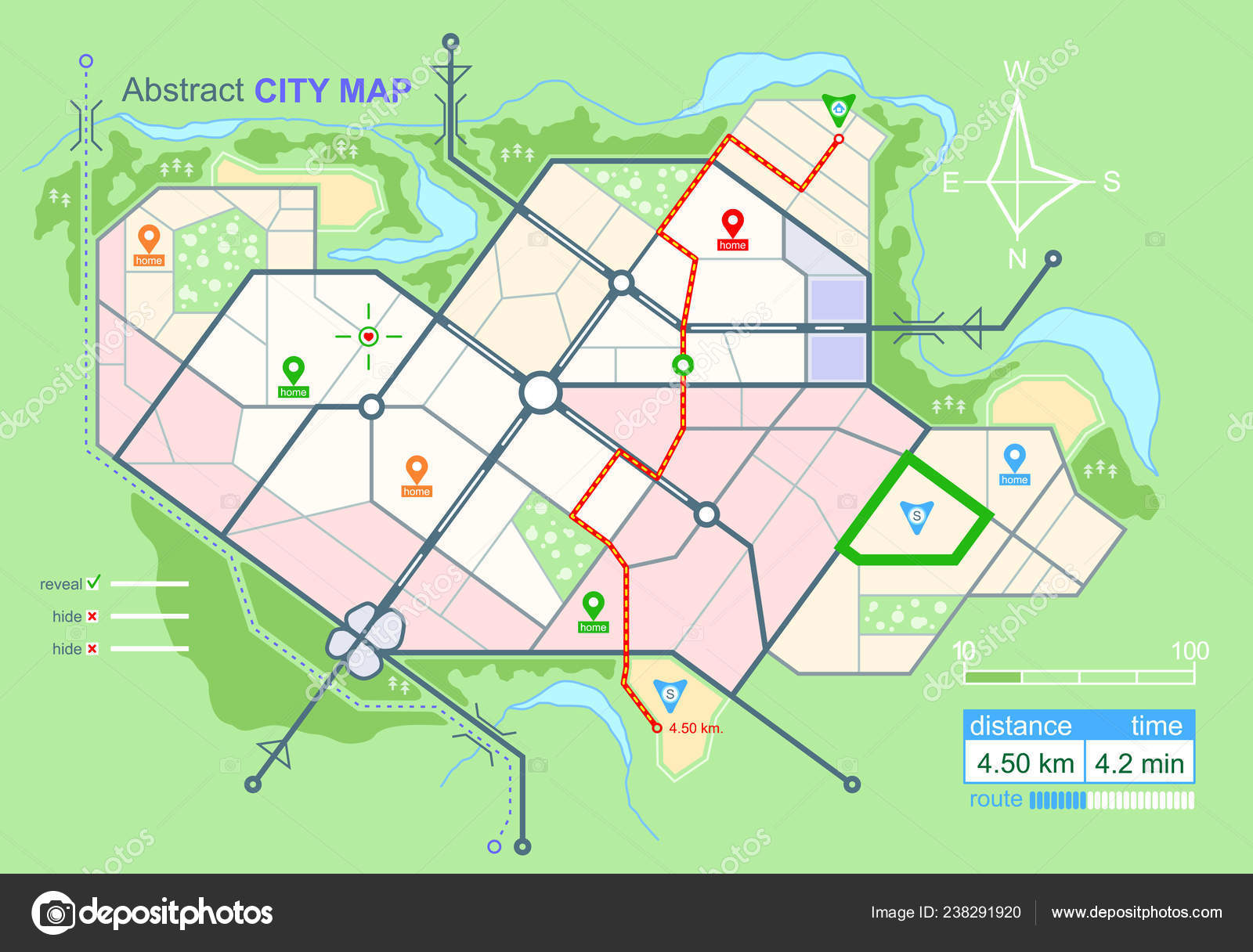 Generic Map Abstract City Urban Environment Scheme Town Streets Plan on