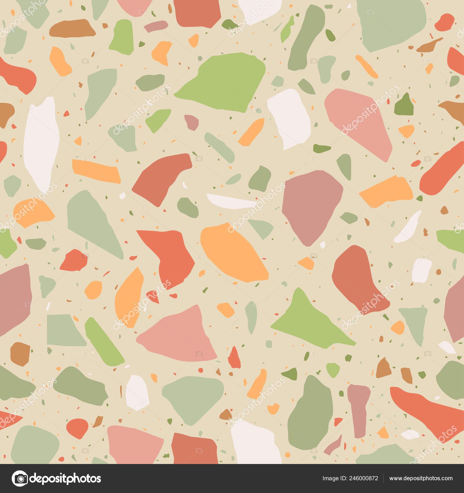 Terrazzo Flooring Seamless Pattern Pastel Colors Marble