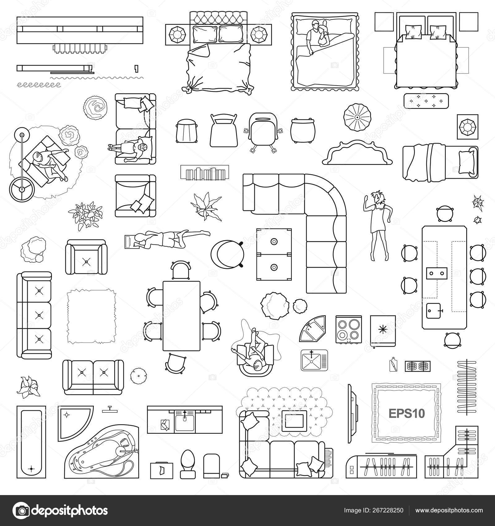 Floor Plan Icons Set Design Interior Architectural Project View Furniture Vector Image By Parmenow Vector Stock 267228250