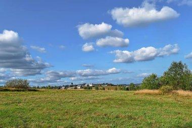 """Картина, постер, плакат, фотообои """"сельский пейзаж с стогами сена в летний солнечный день. сельский пейзаж с облаками в голубом небе . лес цветы водопады"""", артикул 232664182"""