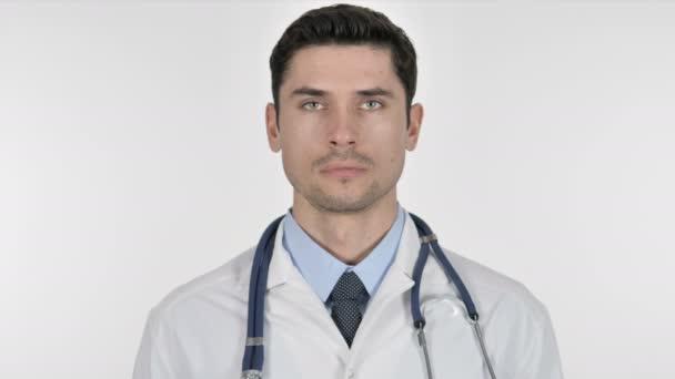 Porträt des Arztes auf weißem Hintergrund