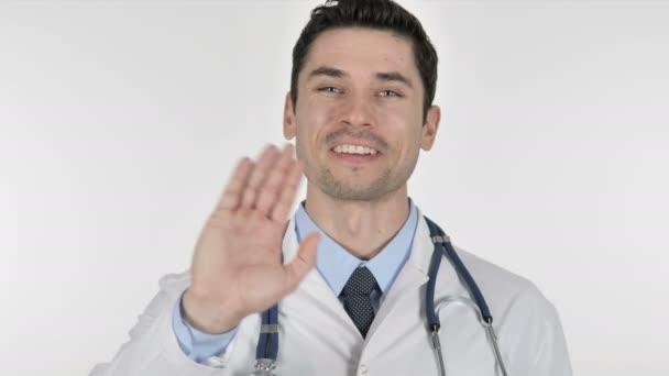 Online-Videochat, sprechender Arzt auf weißem Hintergrund
