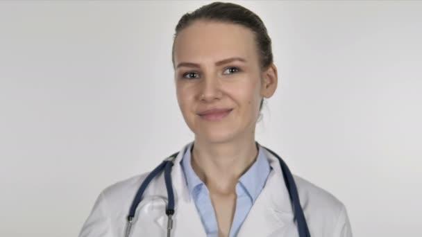Paní doktorka zobrazeno zelené jablko, zdravotní péče
